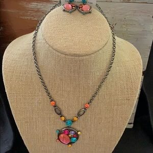 Gorgeous Pink/Multi Color Earring & Necklace Set